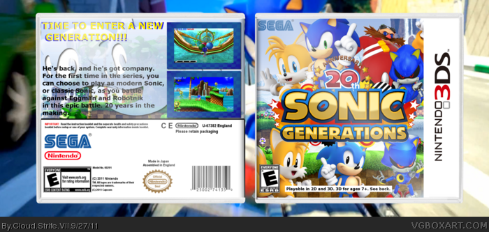 Sonic Generations Nintendo 3DS Box Art Cover by Cloud Strife