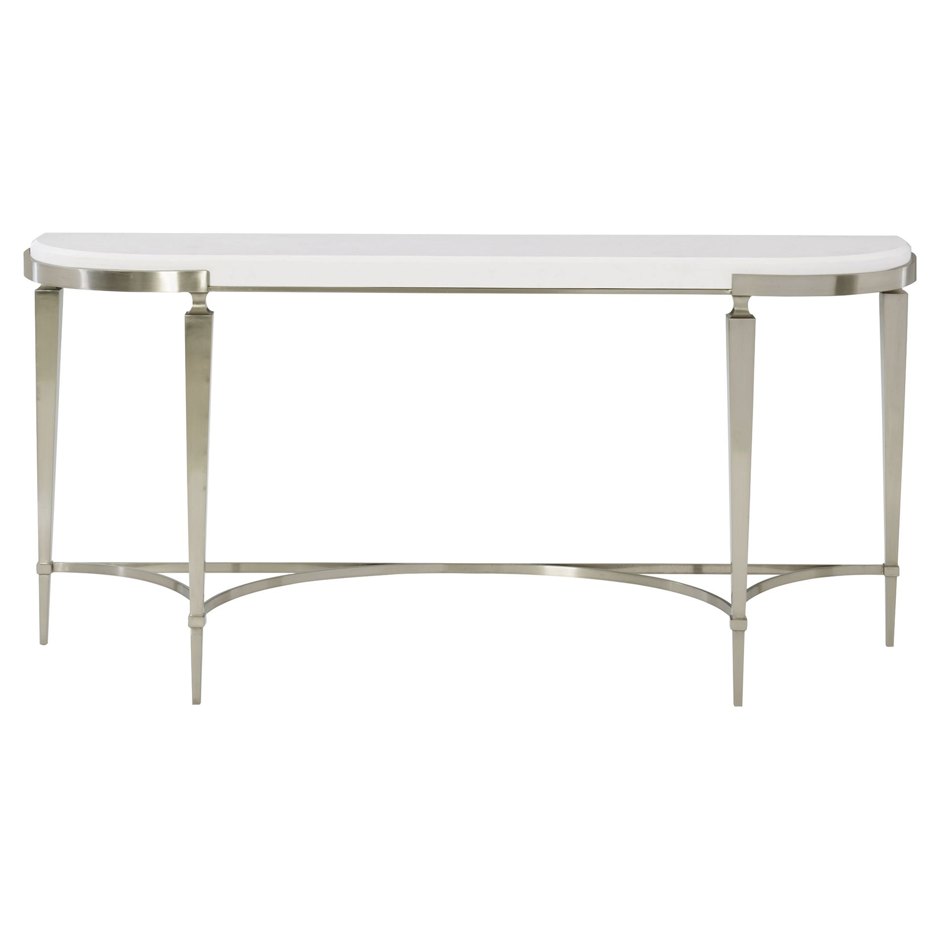Hayley Hollywood Regency White Quartz Stone Stop Demilune Console Table In 2021 Console Table Steel Console Table Marble Console Table