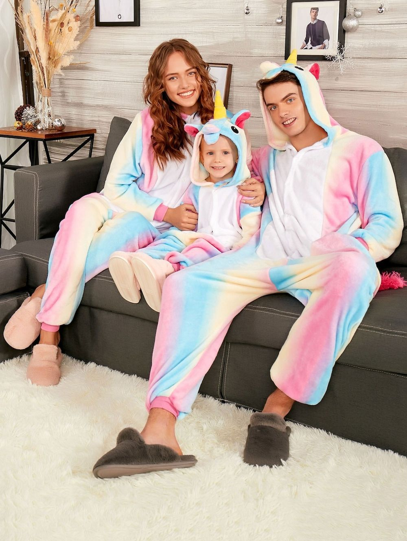Christmas Rainbow Unicorn Animal Family Onesie Pajamas - COLORMIX KID 140 9fe852e7e
