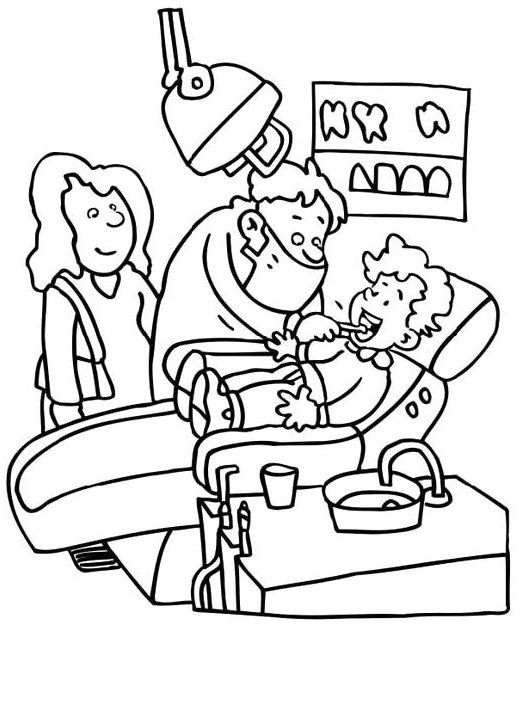 Dentist Check Your Teeth Little Kids Coloring Page For Kids | Igienă ...