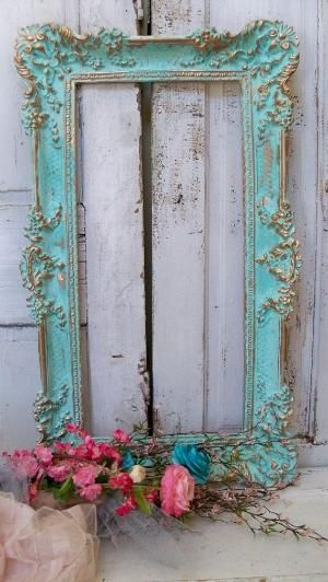 Large frame wall decor aqua blue ornate accented gold shabby chic ...