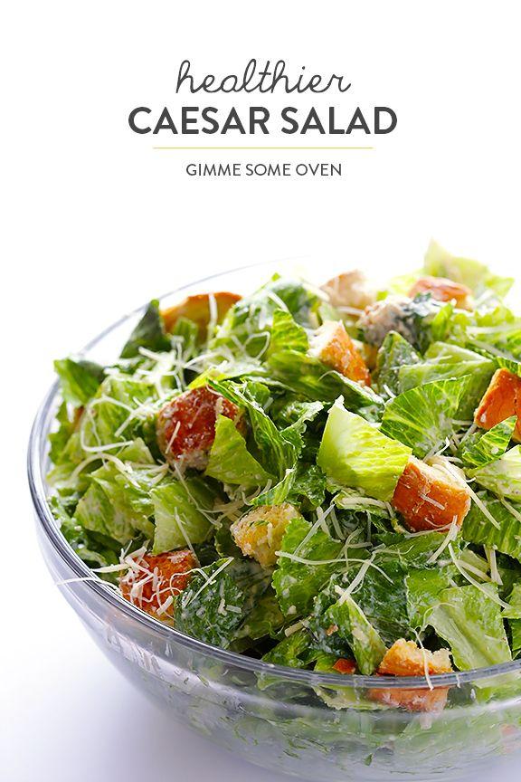 Lighter Caesar Salad Recipe -- made with a creamy Greek yogurt Caesar ...