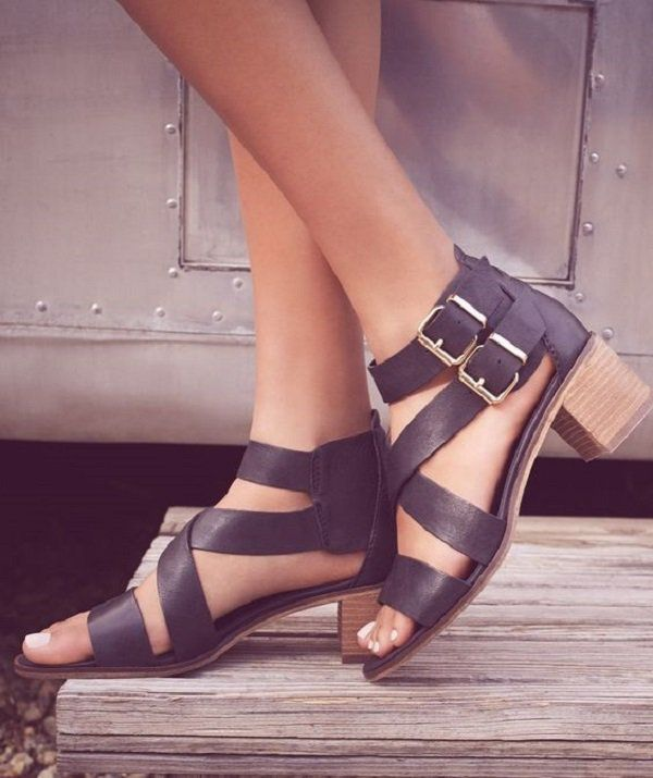This gladiator style sandals with two buckles as ankle straps and short heels is perfect for any dressing up you may want to do this summer while not compensating your comfort.