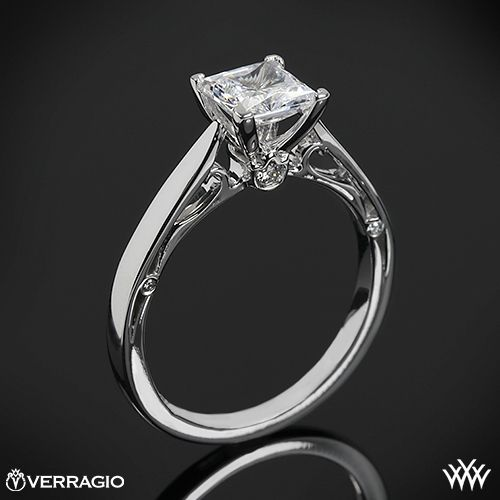 This Solitaire Engagement Ring is from the Verragio Couture Collection. It features 0.05ctw (F/G VS) round brilliant cut diamond melee to enhance a princess, radiant or square diamond center of your choice. The width tapers from 1.75mm at the top down to 1.65mm at the bottom. Select your diamond from our extensive online diamond inventory. Please allow 4 weeks for completion. Platinum rings carry a 5 week turnaround time. If you have any questions regarding this item then please contact one o...