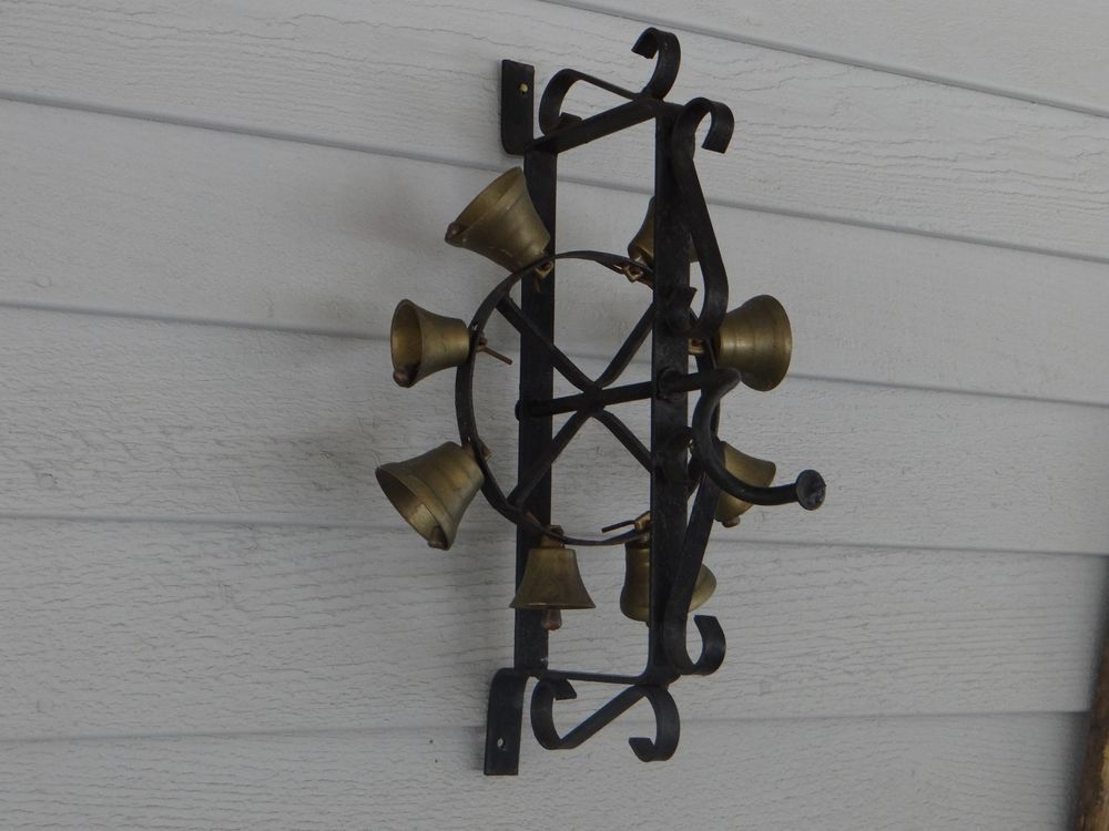 Wrought Iron Hand Turn Brass Bells Door Bell Ringer & Wrought Iron Hand Turn Brass Bells Door Bell Ringer   Antiques and ... pezcame.com