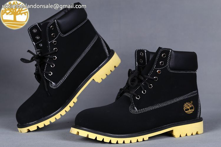 9cbc0ddaaf4 Custom Mens Timberland 6 Inch Black-Yellow Waterproof Lace Up Ankle Boot  $90.99