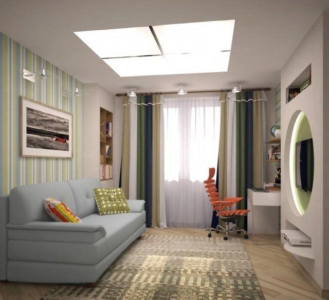 Wandgestaltung Jugendzimmer Junge Grün Blau Gestreifte Tapete