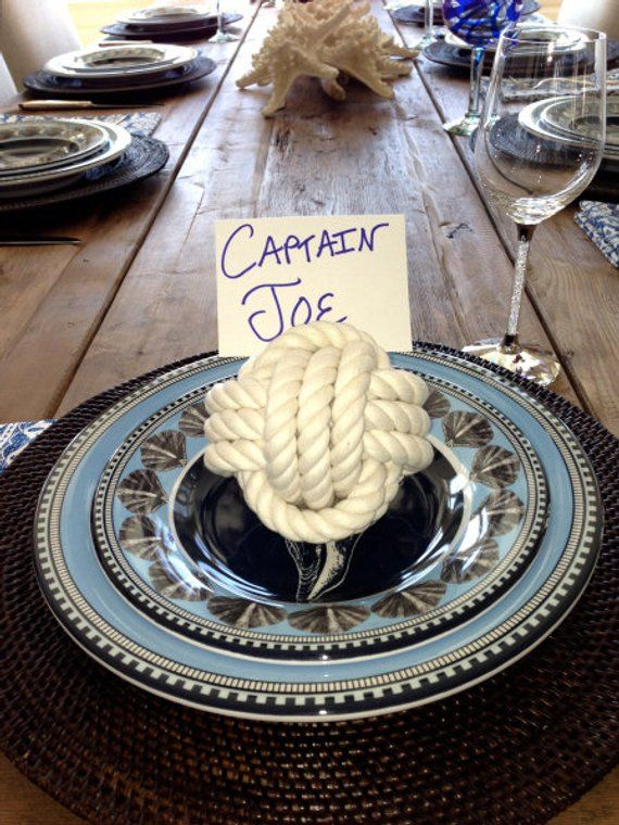 Coastal Wedding Rope Knot 8 Table Number Holders for your Seaside Wedding White Monkey Fist Rope  Knots #ropeknots