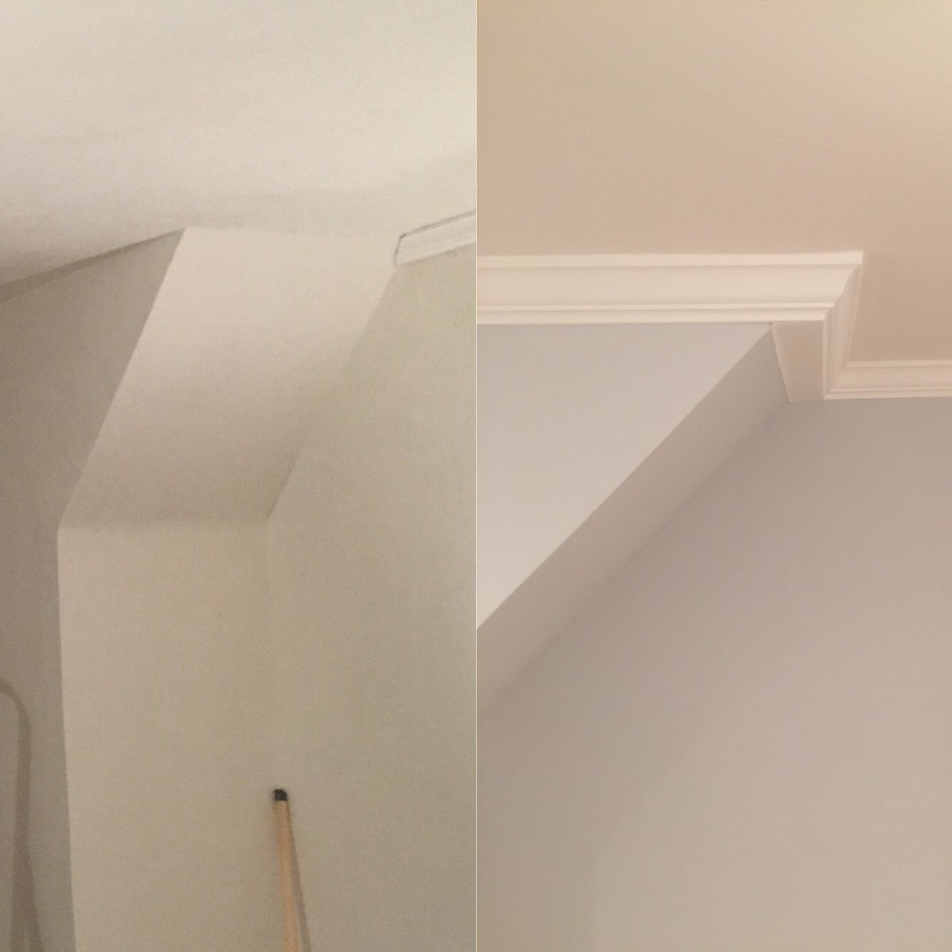 Alternative to crown molding - Before And After Crown Molding Project With Angled Walls