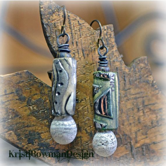 Porcelain and Lampwork Glass Tube Relic Earrings