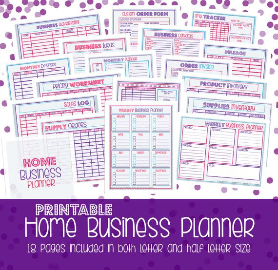 Small Business Planner, Home Business Planner, Half Size + Letter Size, Business Planner, Printable, 18 Sheets, CHEVRON