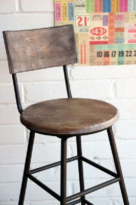 Aged Wood Extra Tall Iron Bar Stool Rocket St George In
