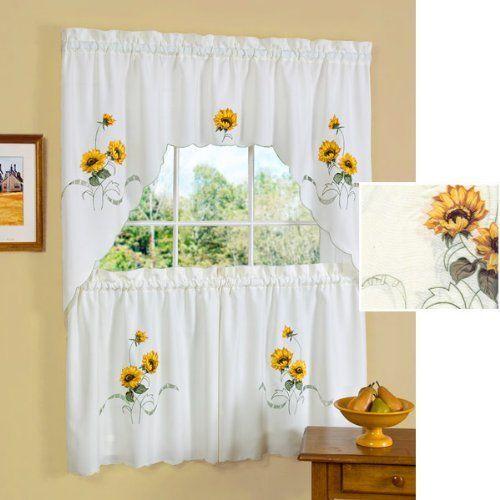 "36"" long sunshine ivory kitchen curtain tier and swag setachim"