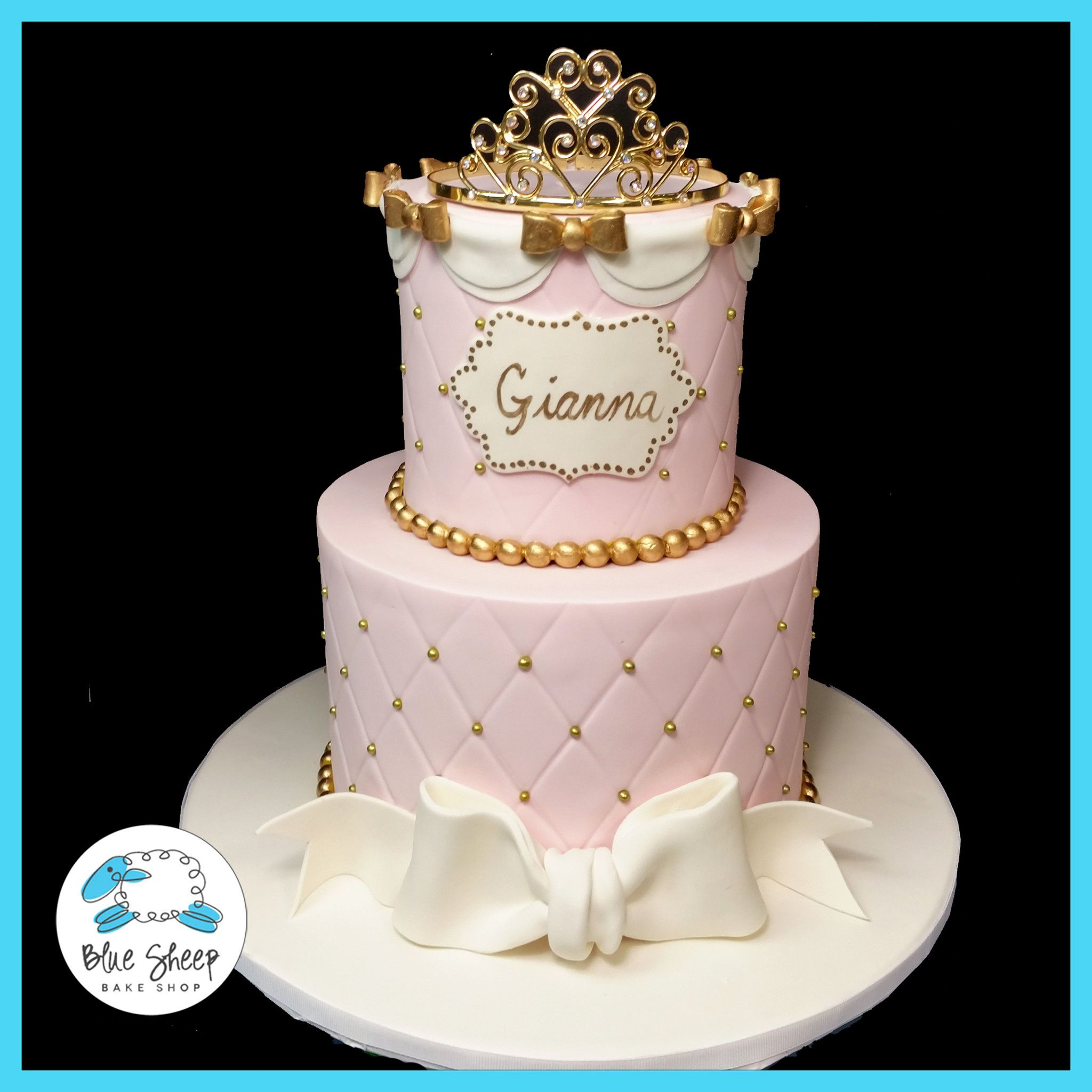 Strange Giannas Princesspink And Gold 1St Birthday Cake 1St Birthday Personalised Birthday Cards Veneteletsinfo