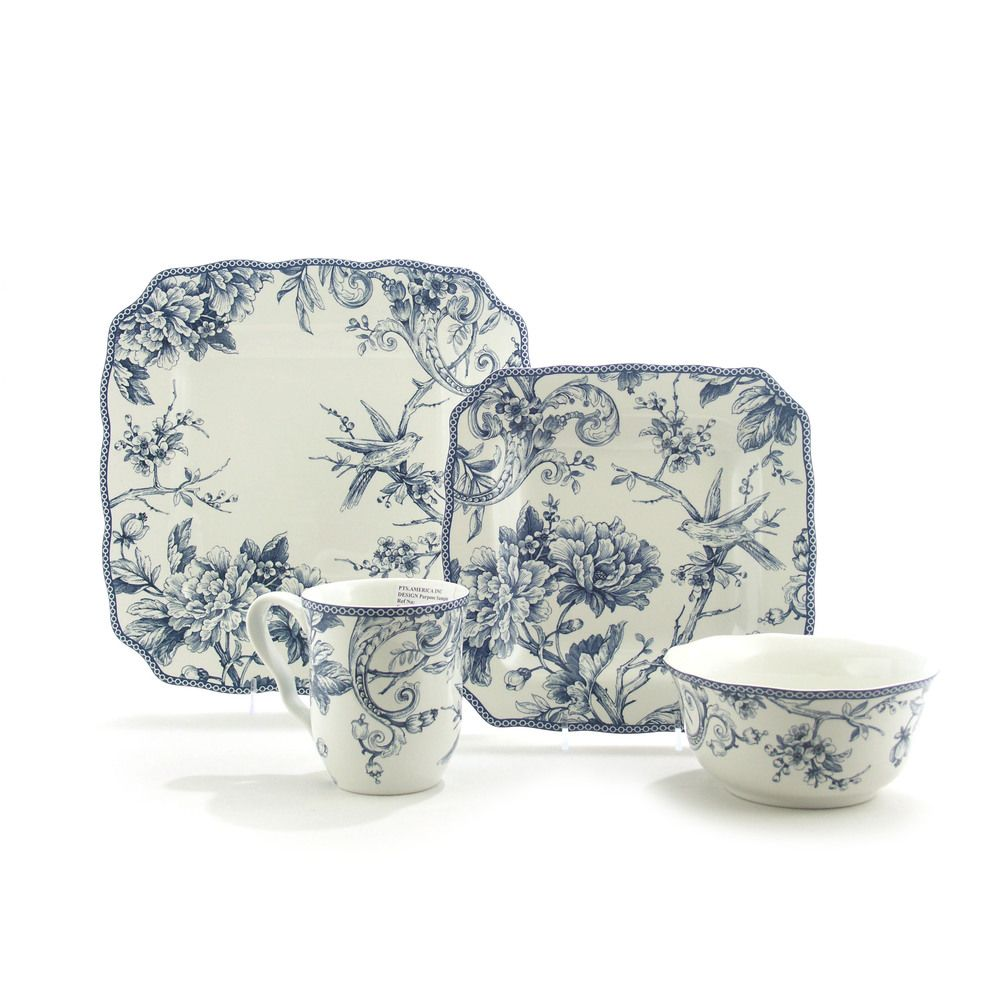 222 Fifth Adelaide Blue/ White 16-piece Dinnerware Set | Overstock.com Shopping  sc 1 st  Pinterest & 222 Fifth Adelaide Blue/ White 16-piece Dinnerware Set | Overstock ...