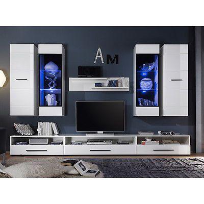 Ebay Angebot Wohnwand Attenzione weiß Hochglanz mit LED Anbauwand - wohnzimmer wei hochglanz