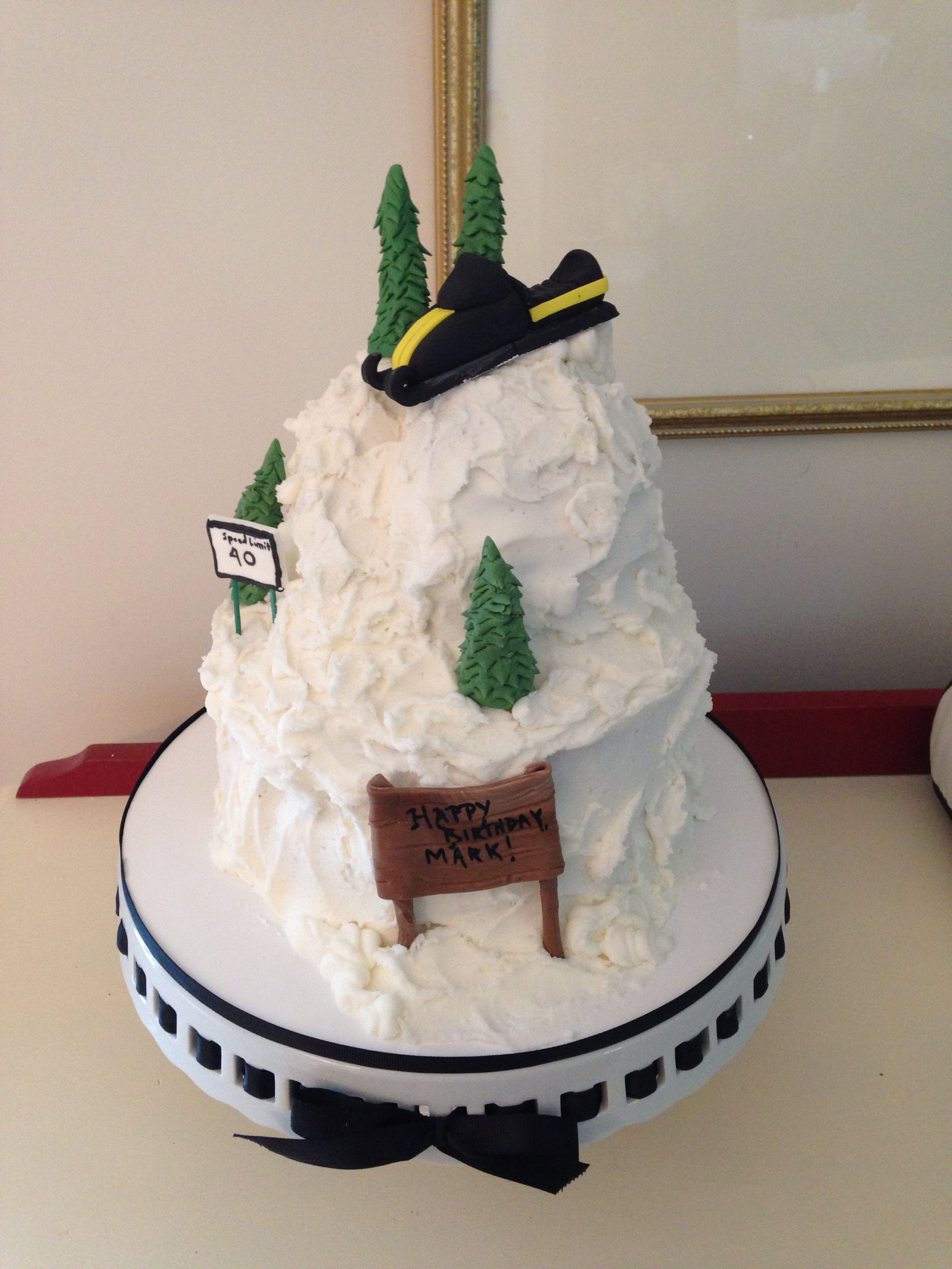 Snowmobile cake, by Amy Hart