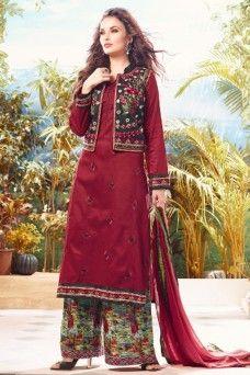 5eeb832e46 Maroon Jacket Style Designer Festive Wear Cotton Plazzo Suit #plazzo #suits  #salwar #jacketstyle #bollywood #indian #ethnicwear #ladies_collection