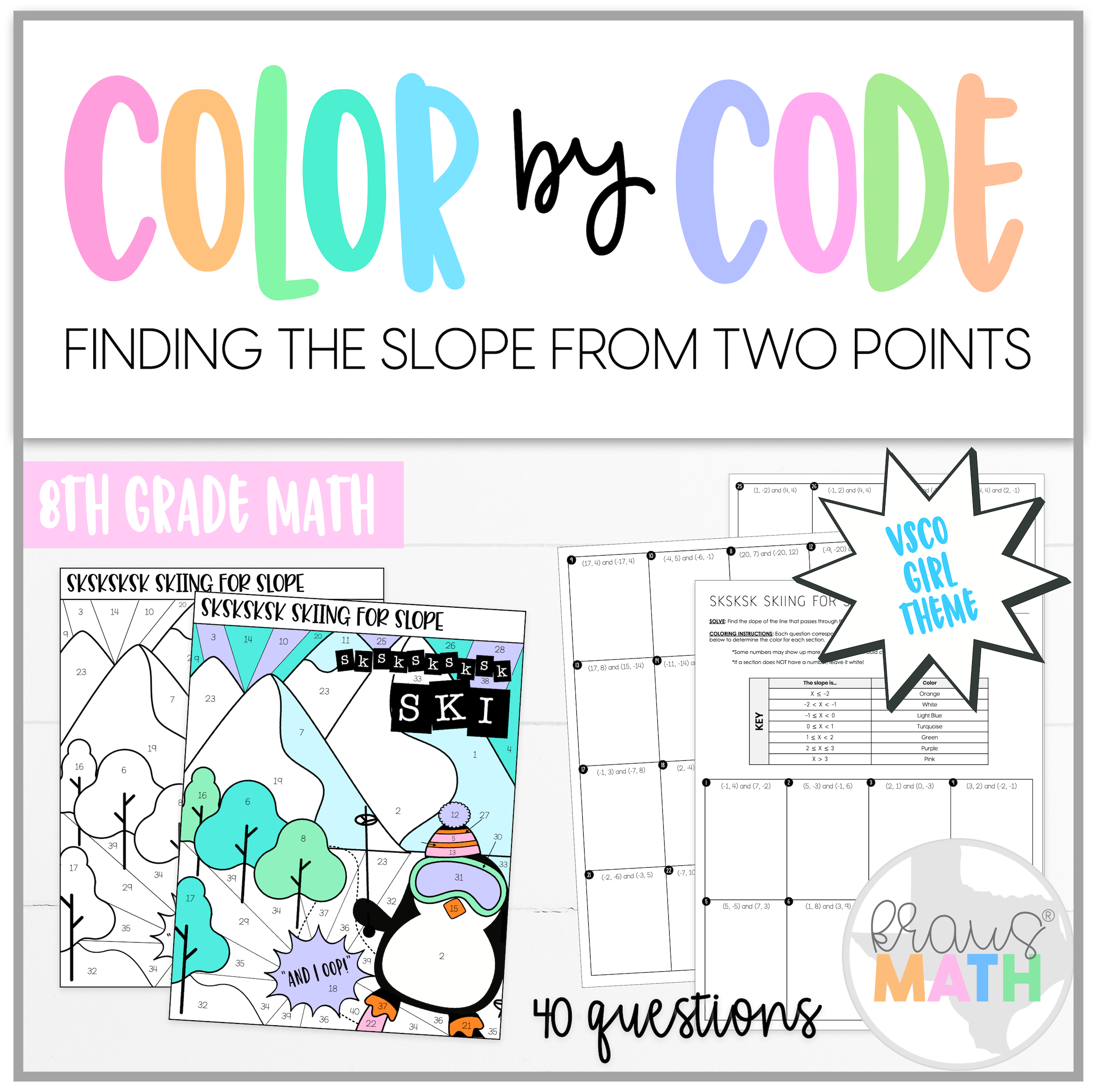 Slope From Two Points Color By Number Vsco Girl Theme