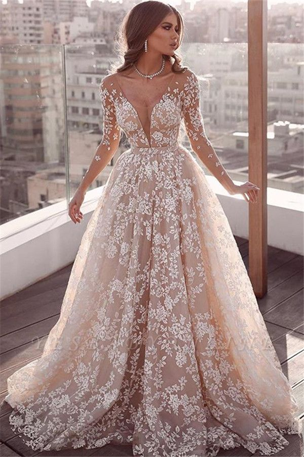 Beautiful Lace Applique Wedding Dresses | Long Sleeves Floral Bridal Gowns