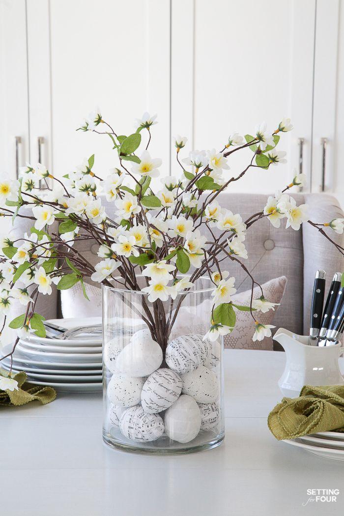 Floral Arrangement With Diy Easter Egg Filler Easter Dining Table Easter Centerpieces Spring Vases