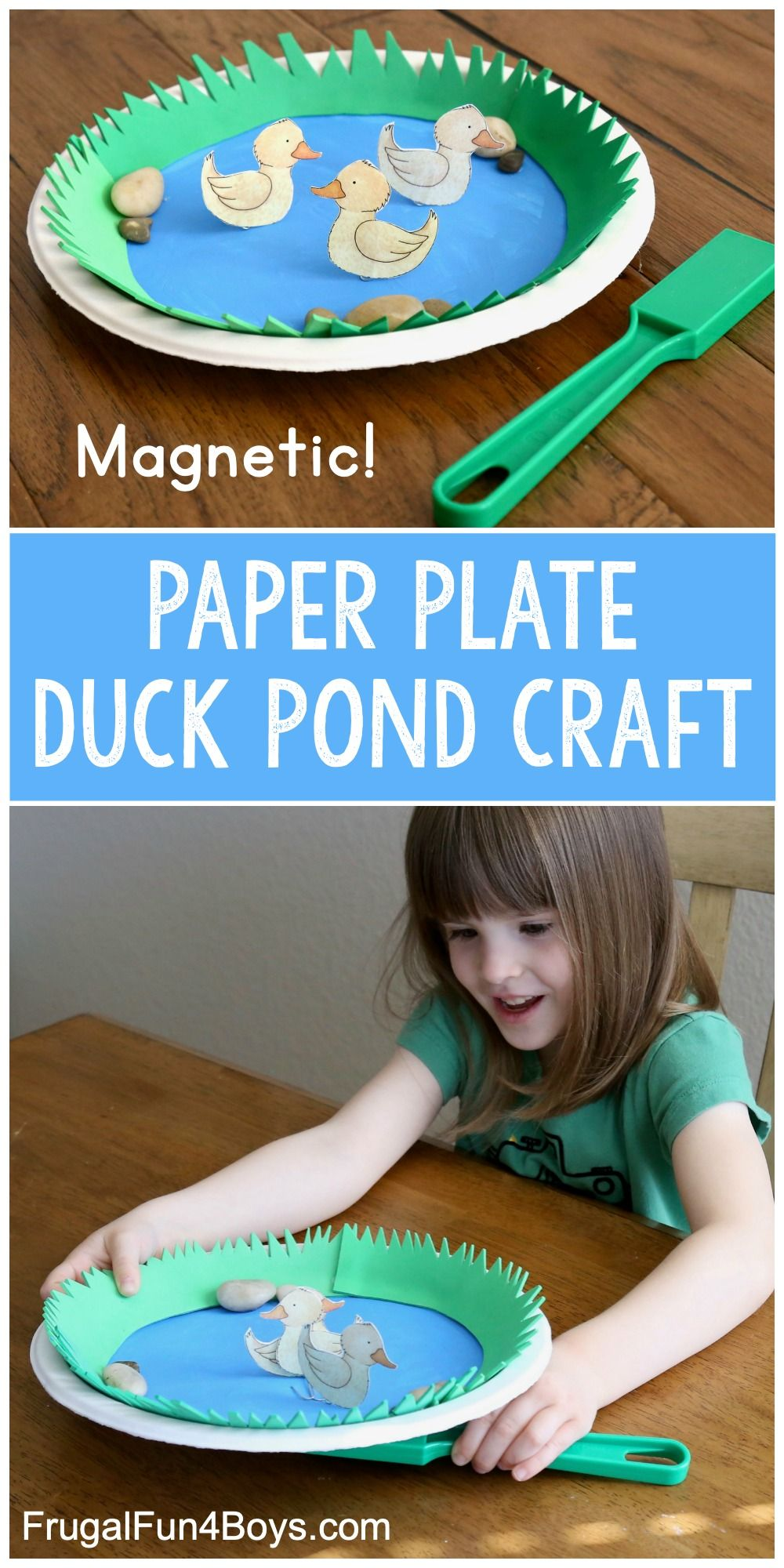 Spring Crafts for Kids: Paper Plate Magnetic Duck Pond - Frugal Fun For Boys and Girls