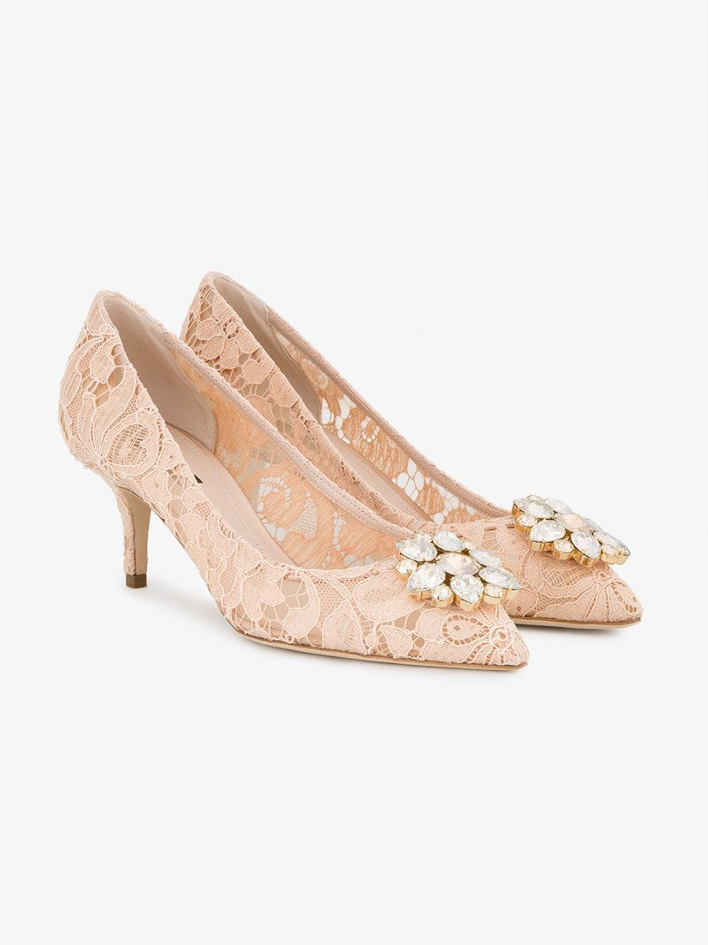 ef554a02db9 DOLCE   GABBANA PINK LACE BELLUCCI CRYSTAL 70 PUMPS.  dolcegabbana  shoes   pumps