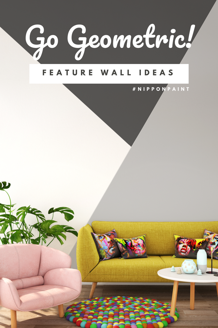 Transform Your Walls With A Punchy Geometric Feature Wall These Punchy Prints In Transform Walls From The Backd Painted Feature Wall Nippon Paint Feature Wall