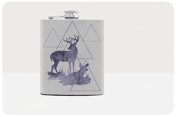 Deer Flask Gift for him Hip flask Gifts for men Flask Guys gift Gifts for guys