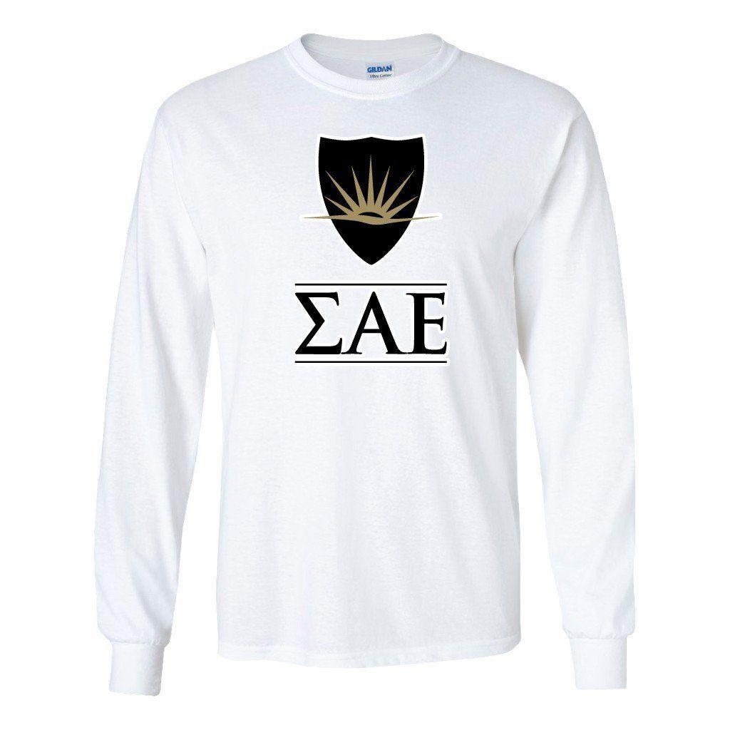 Sigma Alpha Epsilon Long Sleeve T-shirt Shield and Greek Letters