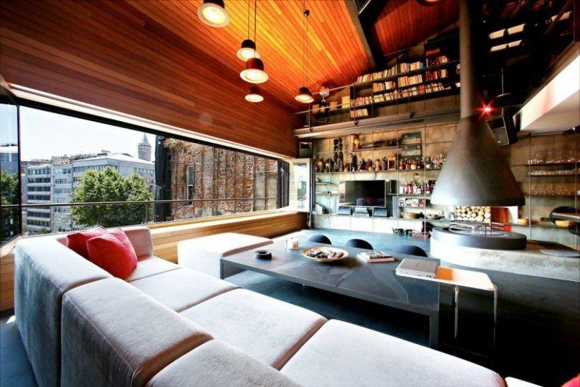 apartment design im industriellen stil loft, das karaköy loft im industriellen stil gehalten mit hängekamin aus, Design ideen