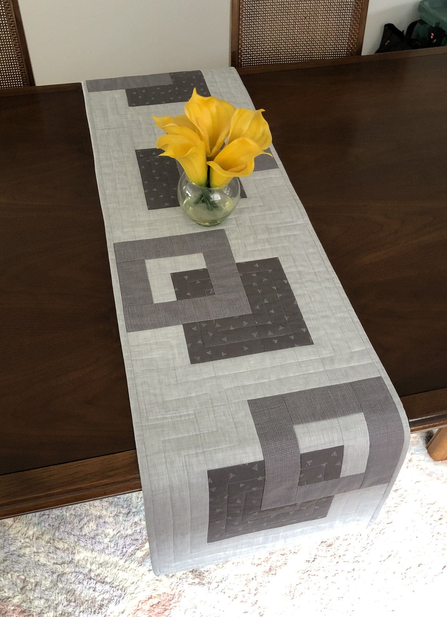 Modern Quilted Tablerunner Grey Wallhanging Reversible Tablerunner Modern Table Decor Modern Gray Ta Modern Table Decor Quilted Table Runners Table Runners