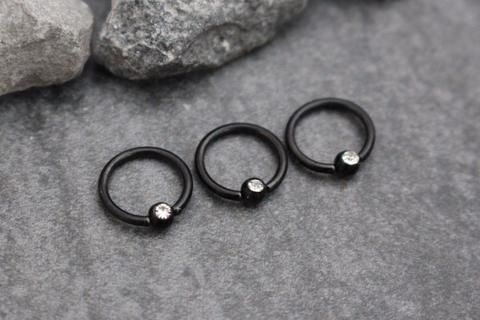 Jules Swarovski Crystal Captive Bead Ring In Blackline With Images Helix Earrings Cartilage Ring Tragus Ring