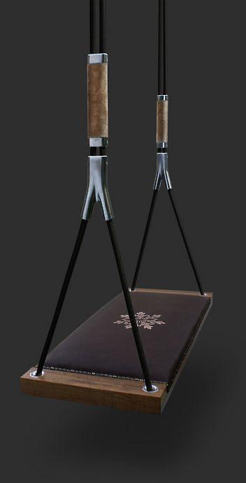 La boheme luxury indoor swing walnut and brown leather for Indoor swing seat