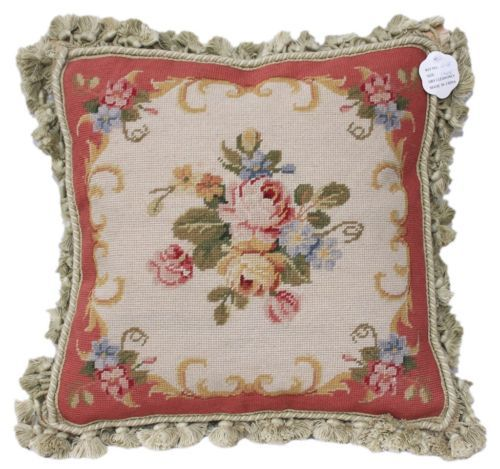 """16/"""" French Old Vintage Beautiful Chic Shabby Rose Needlepoint Pillow"""