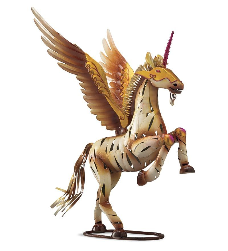 Winged Horse With Horn Metal Yard Sculpture Mythical Or Not