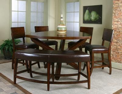 Cramco Shiraz 7 Piece Counter Height Triangle Dining Set   87683 Set By  Cramco. $1369.00. Free Shipping. Set Includes Table, 6 Bonded Leather 24  Inch ...