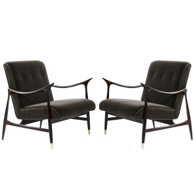 Cheap Dining Room Table And Chairs For Sale: Sculptural Brazilian Lounge Chairs In Mohair For Sale In