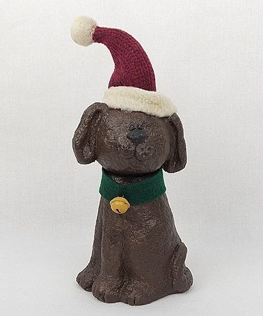Another great find on #zulily! Brown Santa Hat Puppy Figurine by Craft Outlet #zulilyfinds