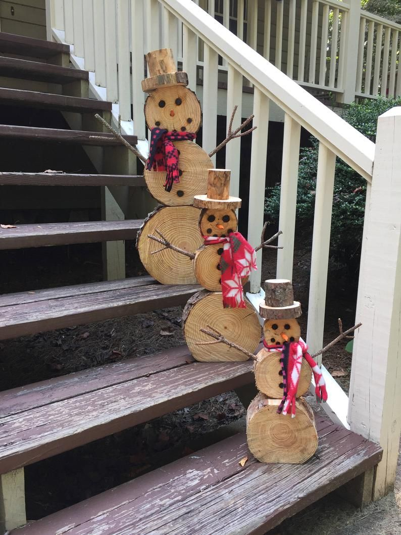 Photo of Wood slice snowman set, Christmas decoration
