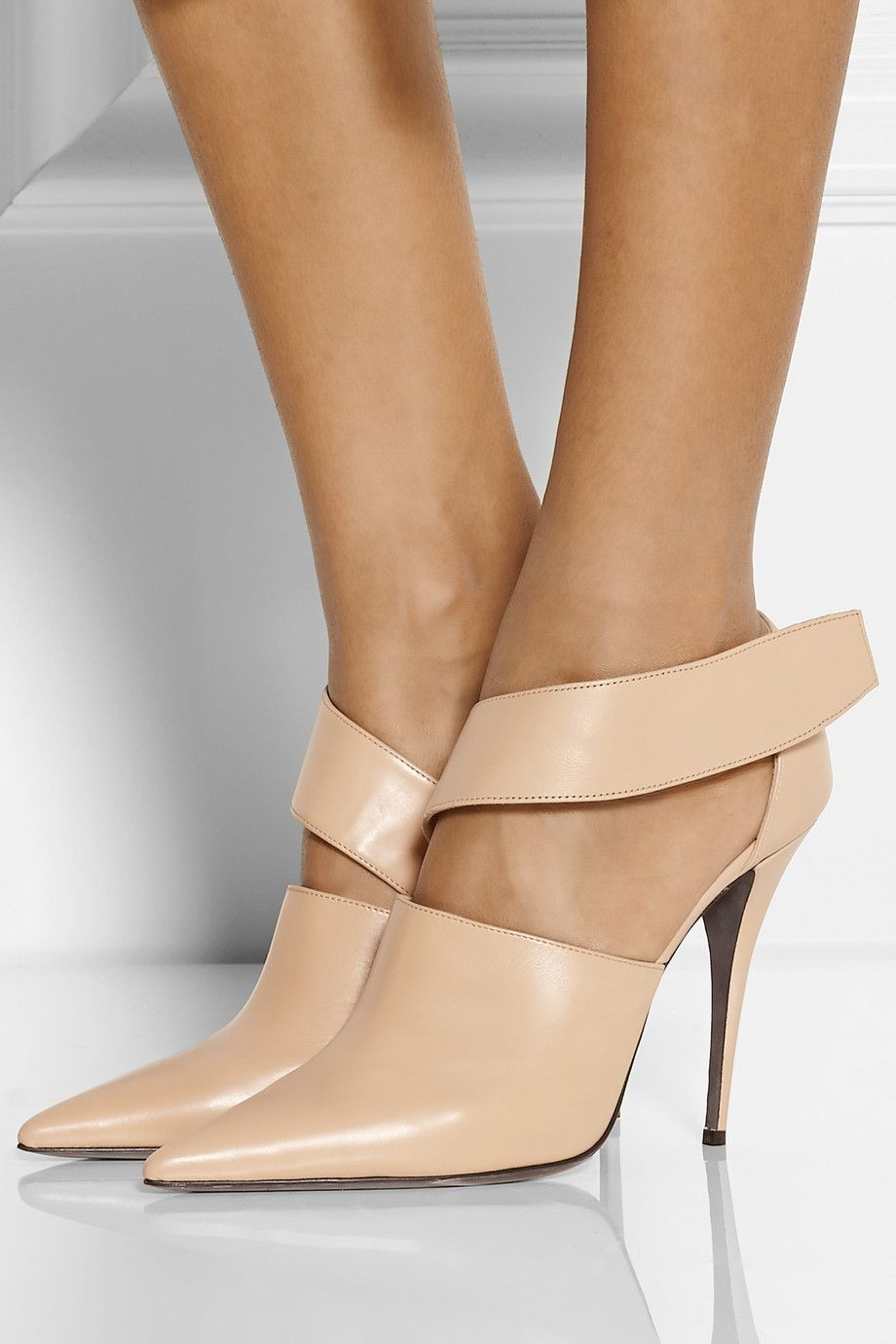 Cheap Wholesales Narciso Rodriguez Ankle Boots Leather Beige Camilla Cutout