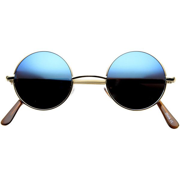Retro Lennon Style Round Circle Metal Mirror Lens Sunglasses 1408 (€8,98) ❤ liked on Polyvore