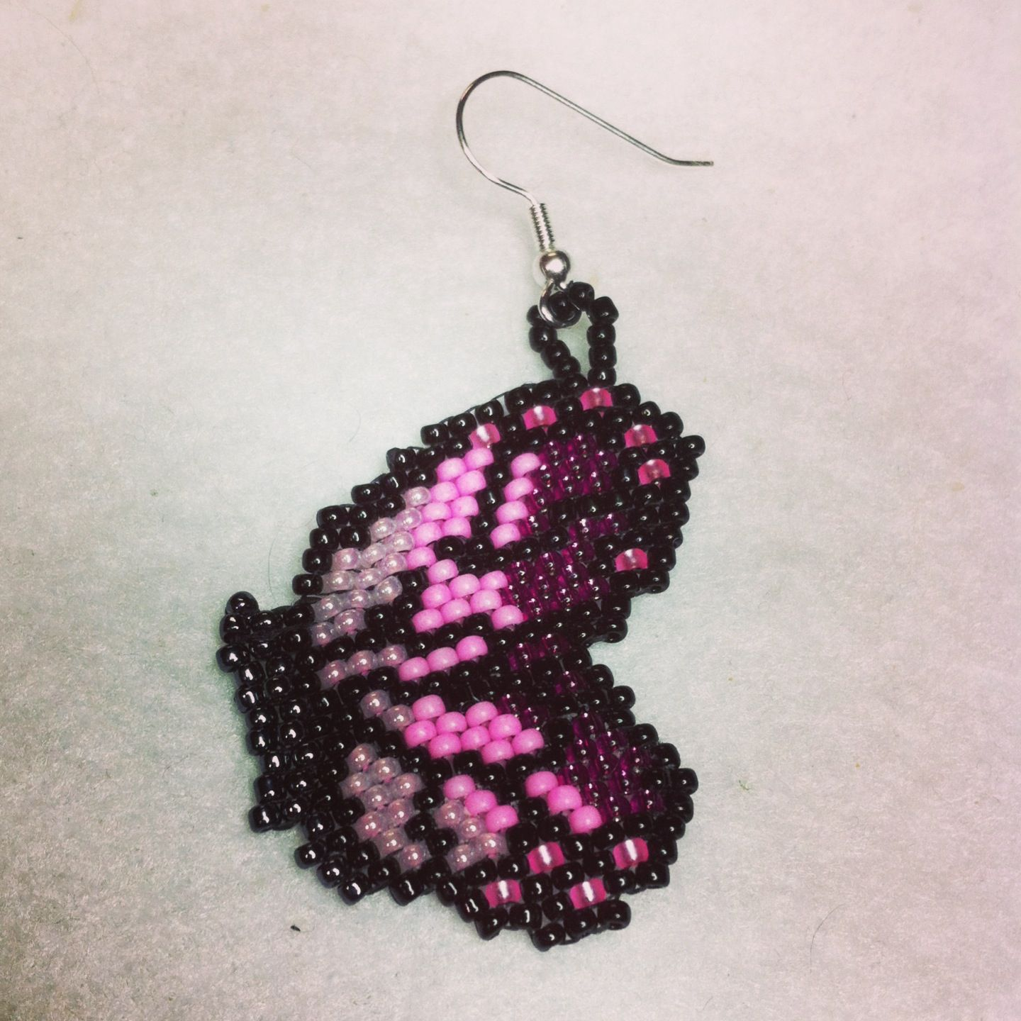 pink monarch beaded earring size 11 seed beads; brick stitch