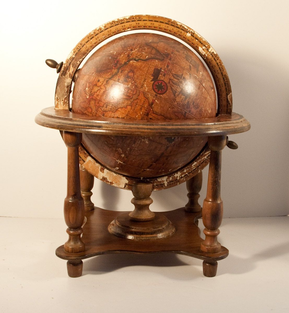 Steampunk furniture large olde world globe wooden stand for Furniture world