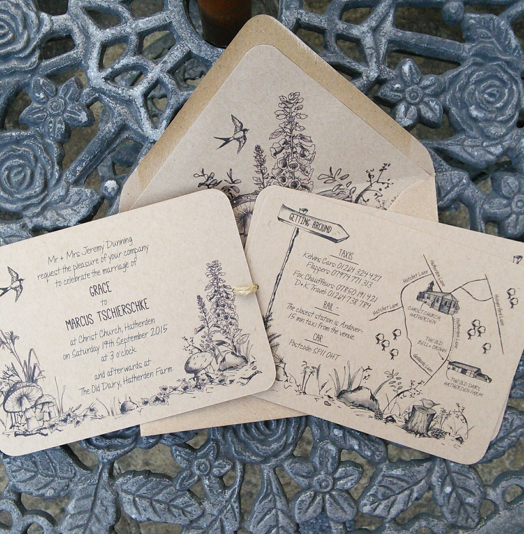 wedding invitations map%0A Woodland Walk handtied wedding invitation including map and RSVP card from  www paperwillow