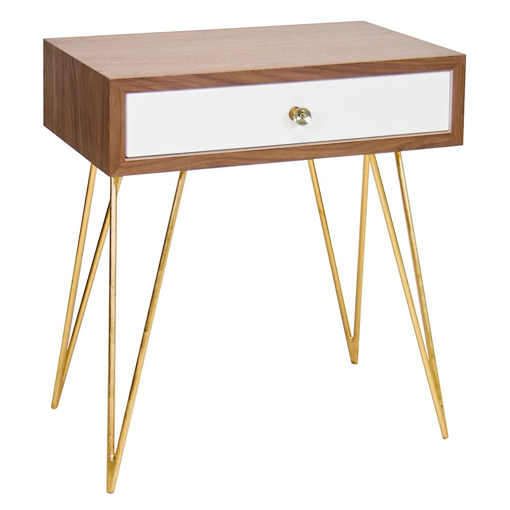 Superb Walnut Veneer U0026 White Lacquer Side Table Or Nightstand With Gold Leaf  Hairpin Legs By Worlds