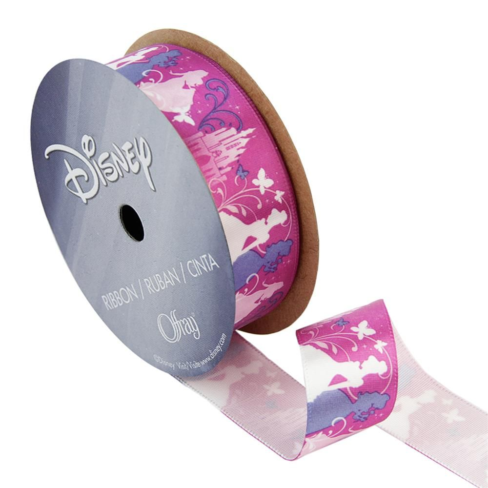"7/8"" Disney Princesses Ribbon Silouhette Pink from @fabricdotcom  Created by Disney for Lion Ribbon, this package contains one 3-yard spool of 7/8'' satin ribbon. Perfect for embellishments, craft projects, and gift wrap! <br><br> Due to licensing restrictions, this item can only be shipped to USA, Puerto Rico, and Canada."