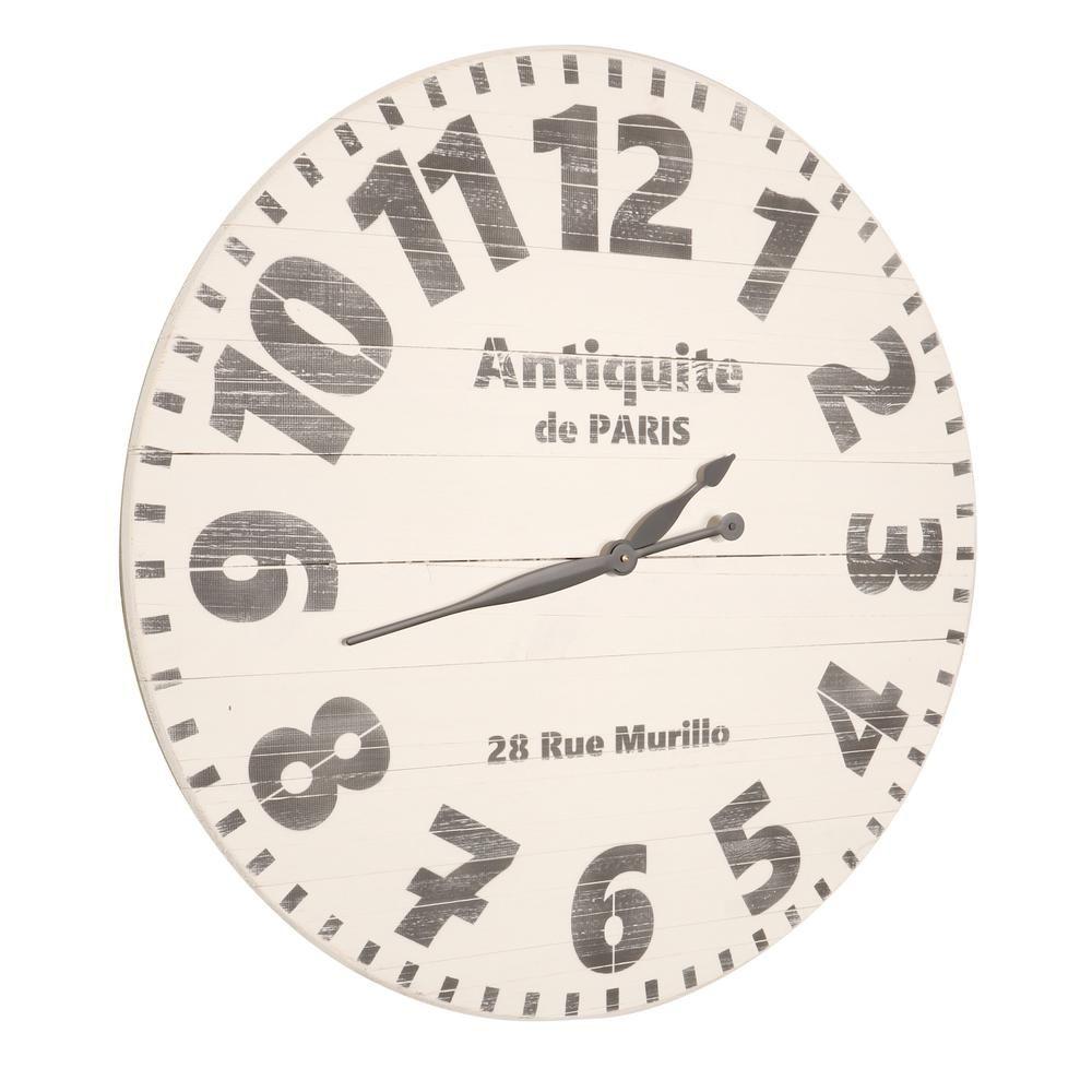 Brandtworks 30 In Oversized Antiquite De Paris Wall Clock Worn Antique White Paris Wall Clock Paris Wall Wall Clock