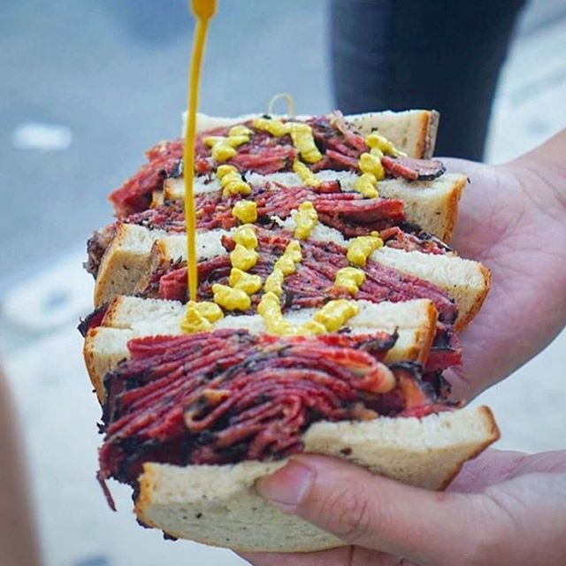 Pastrami All Smothered In Mustard From Ben's Best Kosher