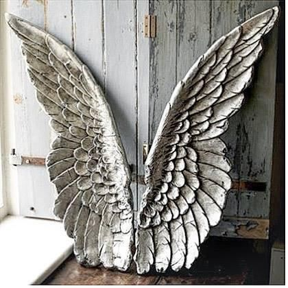 NEW Retro Antique Silver Small Angel Cherub Wings Resin Wall Decor Art Gift Wing